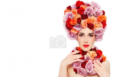 woman in fancy wig of colorful roses
