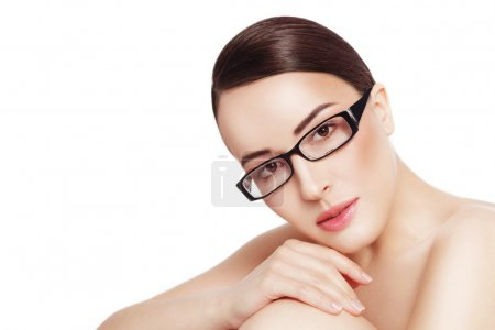 beautiful healthy woman in glasses