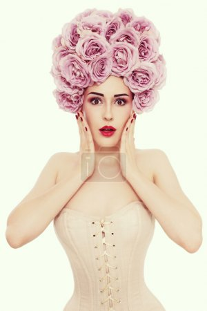 woman in with fancy roses wig