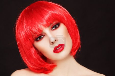 girl with  bob style red wig