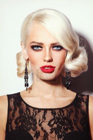 Beautiful sexy platinum blonde woman
