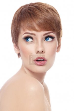 woman with short haircut and fresh make-up