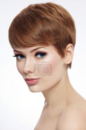woman with short haircut and fresh make-up