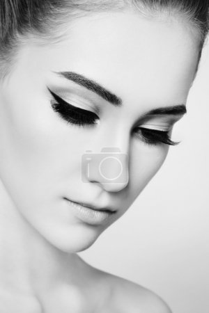 beautiful girl with cat eye make-up