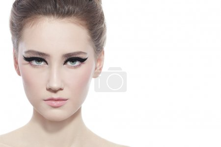 woman with stylish cat eye make-up