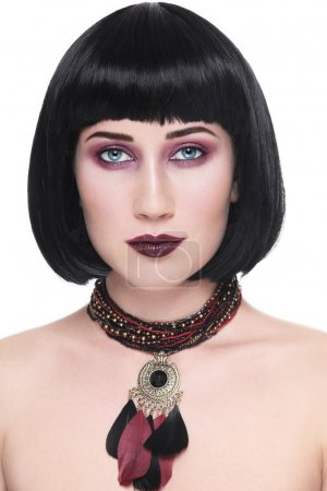 woman with stylish make-up and ethnic necklace