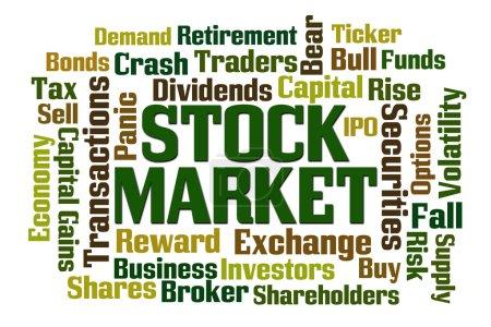 Photo pour Mot du marché boursier nuage sur fond blanc - image libre de droit