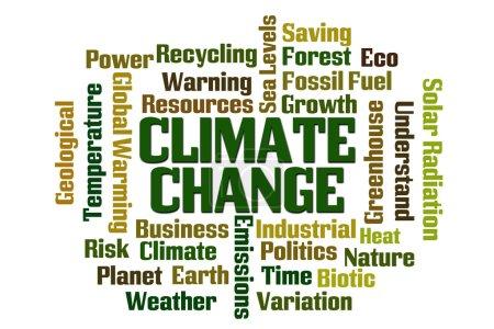 Photo pour Changement climatique mot nuage sur fond blanc - image libre de droit