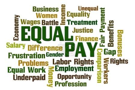 Photo pour Nuage de mot salaire égal sur fond blanc - image libre de droit