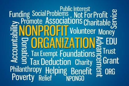 Photo pour Organisation à but non lucratif mot nuage sur fond bleu - image libre de droit