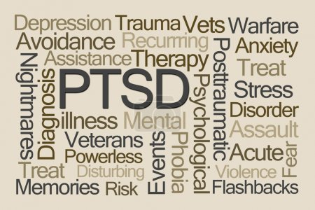 Photo for PTSD Word Cloud on Brown Background - Royalty Free Image