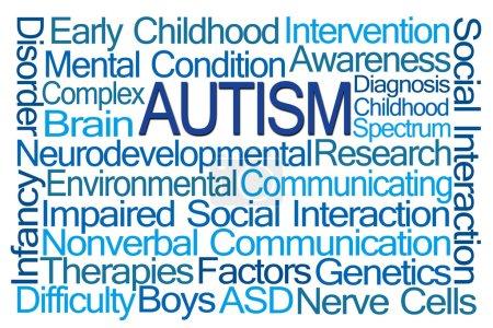 Photo pour Nuage de mot autisme sur fond blanc - image libre de droit