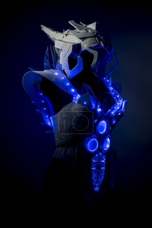 robotic spacesuit with blue lights