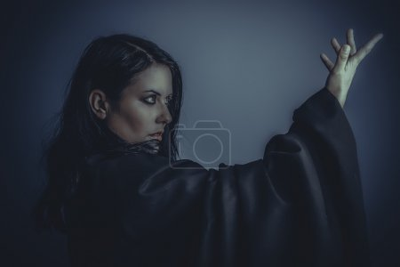 woman with black cloth on posing