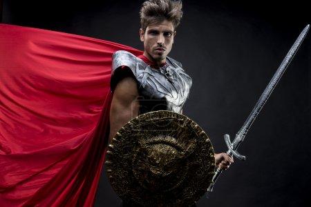 Power, centurion or Roman warrior with iron armor, military helm