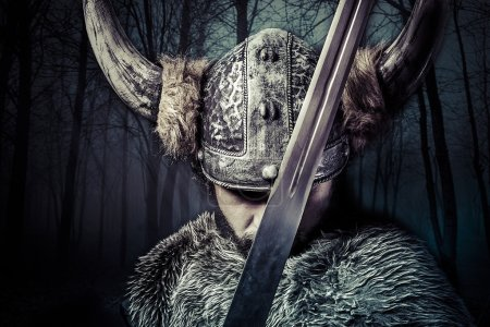 Photo for Sword, Viking warrior with helmet over vintage textured background - Royalty Free Image