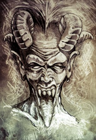 Photo for Sketch of tattoo art, devil head, gothic, vintage style - Royalty Free Image