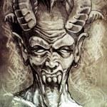 Sketch of tattoo art, devil head, gothic, vintage ...