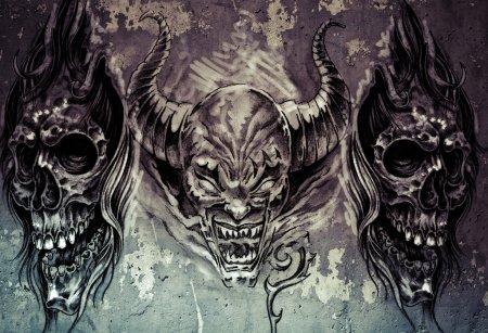 Foto de Tatuaje arte, 3 demonios sobre fondo gris, sketch - Imagen libre de derechos