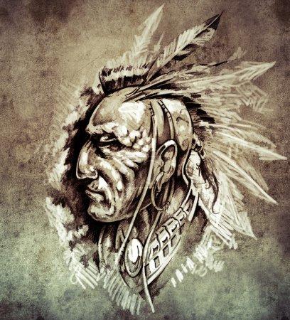 Photo pour Esquisse de tatouage, American Indian Chief illustration sur papier vintage, illustration à la main - image libre de droit