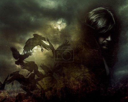 Photo for Paranormal, man with long hair and black coat - Royalty Free Image