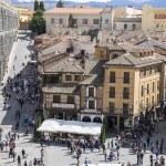 Aerial views of the Spanish city of Segovia. Ancie...