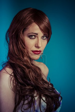 Photo for Beautiful sexy woman with elegant long brunette shiny hair , hairstyle. Red-haired cutie. pretty girl with curls - Royalty Free Image