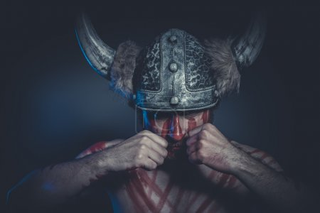 Viking warrior with a horned helmet