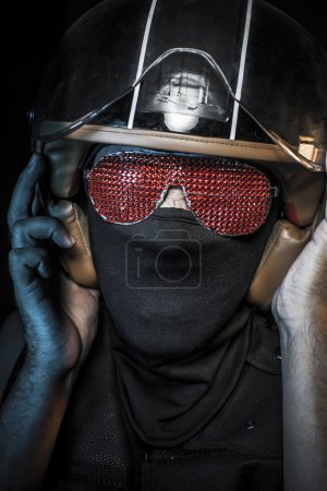 Racing, biker in sunglasses