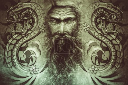 Photo for Tattoo design over grey background. textured backdrop. Artistic image - Royalty Free Image
