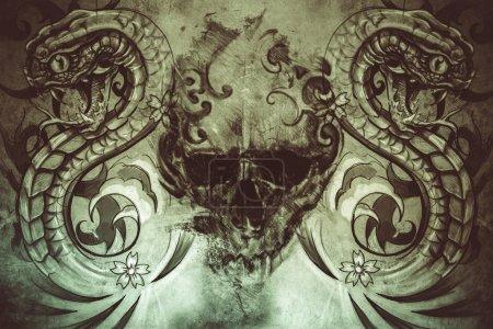 Photo pour Conception de tatouage sur fond gris. toile de fond texturé. Image artistique - image libre de droit