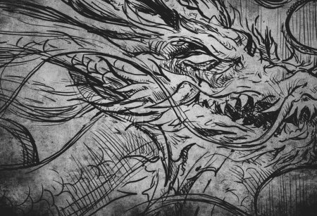 dragon tatoo illustration