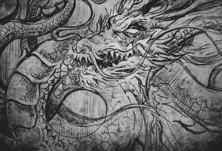 Japanese dragon tatoo illustration