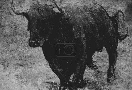 bull running on vintage paper,