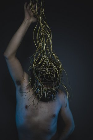 Photo for Frustration, depression and anxiety, naked man with a crown of thorns on his head - Royalty Free Image