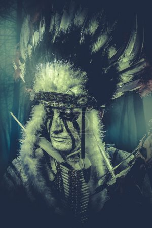 Indian warrior with feather headdress