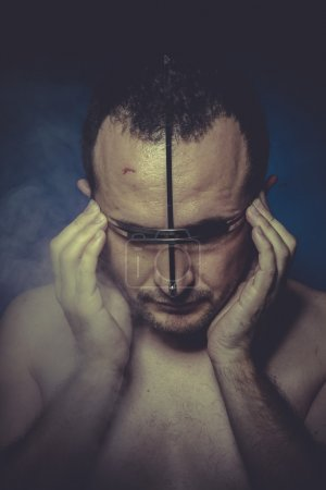 Photo for Hallucination, concept of man with mental disorder, schizophrenia and depression - Royalty Free Image