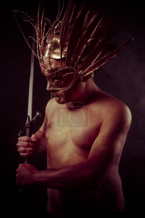 warrior with golden mask