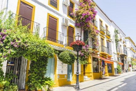 Photo pour Rues andalouses traditionnelles avec fleurs et maisons blanches à Marbella, Andalousie, Espagne - image libre de droit