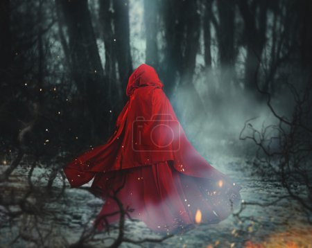 Fairytale image of a beautiful girl wearing a red ...