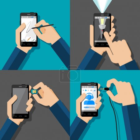 Illustration for Hands holding touchscreen smartphones. Drawing, flash light, music, sim card. Vector illustration. - Royalty Free Image