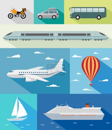 Illustration for Various types of transport: car, bus, train, airoplane, air baloon, sailing boat, ship with long shadow effect. Vector set of different means of transportation. - Royalty Free Image