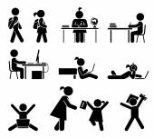 School days Pictogram icon set School children