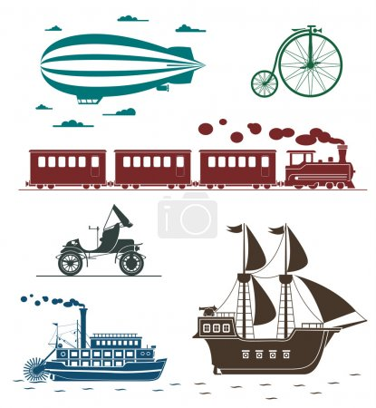 Vector icons of vintage means