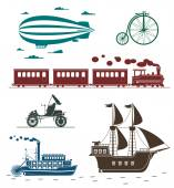 Vector icons of vintage means of transportation