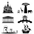 Vector set of famous monuments and travel icons. T...