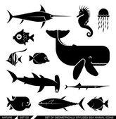 Sada geometricky stylizovanými moře zvířat ikon