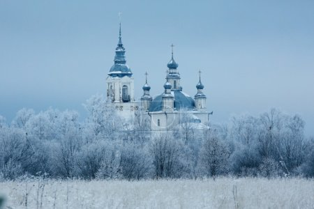 Christian monastery in snowy winter