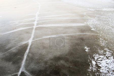 cracked frozen lake