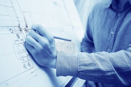 Photo for Engineer designer drawing on background - Royalty Free Image